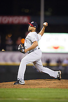Pawtucket Red Sox relief pitcher Pedro Beato #40 delivers a pitch during game three of a best of five playoff series against the Empire State Yankees at Frontier Field on September 7, 2012 in Rochester, New York.  Empire State defeated Pawtucket 4-3 to send the series to game four as Pawtucket leads two games to one.  (Mike Janes/Four Seam Images)