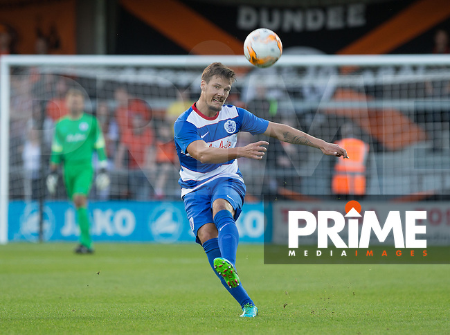 Christopher Schorch of QPR hits the ball upfield during the Friendly match between Dundee United and Queens Park Rangers at The Hive, London, England on 22 July 2015. Photo by Andy Rowland.