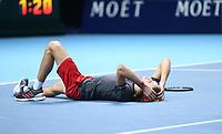 Alexander Zverev after winning match point against Novak Djokovic in their singles Final match today<br /> <br /> Photographer Rob Newell/CameraSport<br /> <br /> International Tennis - Nitto ATP World Tour Finals Day 8 - O2 Arena - London - Sunday 18th November 2018<br /> <br /> World Copyright &copy; 2018 CameraSport. All rights reserved. 43 Linden Ave. Countesthorpe. Leicester. England. LE8 5PG - Tel: +44 (0) 116 277 4147 - admin@camerasport.com - www.camerasport.com