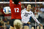 KANSAS CITY, KS - DECEMBER 14: Simone Lee #22 of Penn State University hits a kill against the University of Nebraska during the Division I Women's Volleyball Semifinals held at Sprint Center on December 14, 2017 in Kansas City, Missouri. (Photo by Tim Nwachukwu/NCAA Photos via Getty Images)