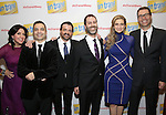 Kristen Anderson-Lopez, Rick Hip-Flores, James-Allen Ford, Russ Kaplan, Sara Wordsworth and Deke Sharon attends the Broadway Opening Night Performance Press Reception for  'In Transit' at Circle in the Square Theatre on December 11, 2016 in New York City.