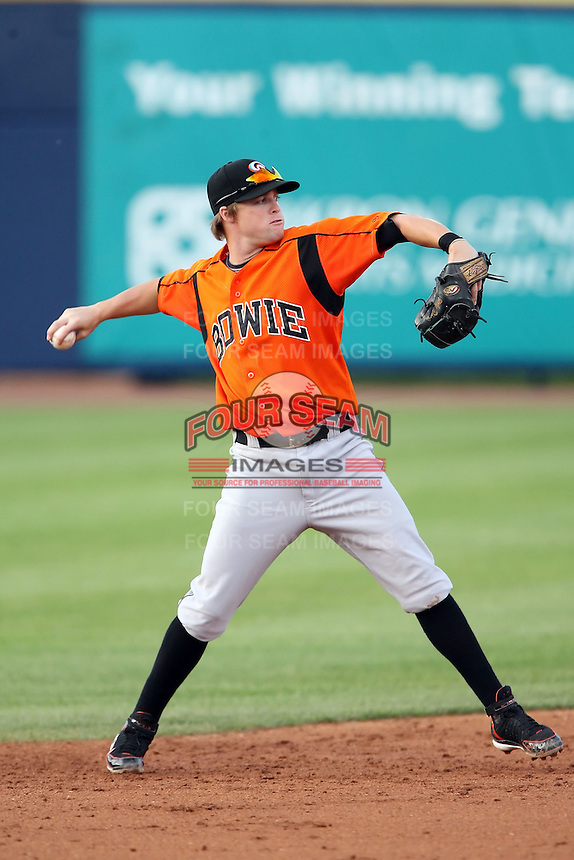 July 10th 2008:  Blake Davis of the Bowie Baysox, Class-AA affiliate of the Baltimore Orioles, during a game at Canal Park in Akron, OH.  Photo by:  Mike Janes/Four Seam Images