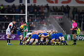 9th December 2017, AJ Bell Stadium, Salford, England; European Rugby Challenge Cup, Sale Sharks versus Cardiff Blues; Steam rises off the Carfidd scrum