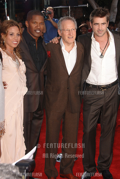"Actors COLIN FARRELL (right) & JAMIE FOXX with director MICHAEL MANN (centre) & actress ELIZABETH RODRIGUEZ at the world premiere, in Los Angeles, of their new movie ""Miami Vice."".July 20, 2006  Los Angeles, CA.© 2006 Paul Smith / Featureflash"