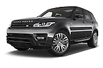 Stock pictures of low aggressive front three quarter view of a 2015 Land Rover RANGE ROVER SPORT HSE Dynamic 5 Door SUV Low Aggressive