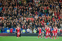 Wednesday 4th  December 2013 Pictured: The Welsh football team in front of the We;sh crowd after their win <br /> Re: UEFA European Championship Wales v Cyprus at the Cardiff City Stadium, Cardiff, Wales, UK