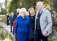06/02/2020 - Camilla Duchess of Cornwall walks through the garden with the landscaper Piet Oudolf, Maggies Chief Executive Dame Laura Lee and Maggies London Development Board Chairman, Dori Dana Haeri during a visit to Maggies at The Royal Marsden in Sutton, Greater London. Photo Credit: ALPR/AdMedia