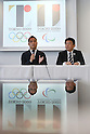 (L-R) Kenjiro Sano, Hidetoshi Maki, AUGUST 5, 2015 : Designer, Kenjiro Sano held a press conference to explain the concepts behind his design for the official emblem for the 2020 Tokyo Olympic and Paralympic Games in Tokyo, Japan. Sano dismissed claims that the design is copied from the logo for the Theatre de Liege in Belgium and explained that he had created it to follow on from the tradition of the 1964 Olympic Games which were also held in Tokyo. (Photo by Sho Tamura/AFLO SPORT)