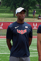 Kenny Selmon stands with his fellow USA Track and Field World Youth Championships teammates before the crowd after being introduced Sunday, on the final day of the Youth Outdoor Championshiops, Sunday, June 30, 2013, in Edwardsville, Il. Selmon was chosen for the team after his second place finish in the 400 meter hurdles, June 26, at the two-day World Youth Trials Meet, held in conjunction with the Youth Championships Meet.
