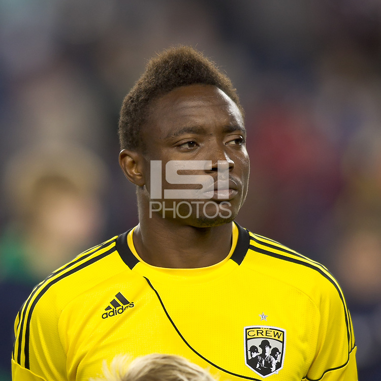 Columbus Crew midfielder Emmanuel Ekpo (17). In a Major League Soccer (MLS) match, the Columbus Crew defeated the New England Revolution, 3-0, at Gillette Stadium on October 15, 2011.