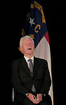 RALEIGH, NC - OCTOBER 31:  Former president Bill Clinton laughs during a campaign event in support of North Carolina Democratic incumbent for U.S. Senate Kay Hagan at Broughton High School in Raleigh, NC, on Friday, October 31, 2014.  (Photo by Ted Richardson/For The Washington Post)