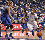 UK guard A'dia Mathies looks for the pass. The University of Kentucky Women's Basketball team hosted DePaul University Friday, Dec 07, 2012 at Rupp Arena in Lexington. Photo by Kirsten Holliday