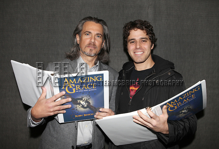 Robby Benson & Josh Young in Rehearsal for 'Amazing Grace - The Epic Musical'  at Clark Studio Theater, Lincoln Center in New York City on December 7, 2012