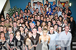 JOINT 21ST: Maura Reidy, Ballyheigue (front 3rd from right) and Frank Ronan, Lixnaw (front 4th from right) having a wonderful time with friends and family at their joint 21st birthday party held in the Ballyroe Heights Hotel, Tralee, on Saturday night.   Copyright Kerry's Eye 2008