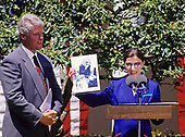 Judge Ruth Bader Ginsburg of the United States Court of Appeals for the District of Columbia holds a photo of her granddaughter Clara with first lady Hillary Rodham Clinton that was taken in October 1992 during the ceremony where she was nominated to the United States Supreme Court by US President Bill Clinton in the Rose Garden of the White House in Washington, DC on June 14, 1993.  If confirmed, Judge Ginsburg will replace Associate Justice Byron R. White.<br /> Credit: Ron Sachs / CNP