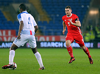 Sam Vokes of Wales (R) during the international friendly soccer match between Wales and Panama at Cardiff City Stadium, Cardiff, Wales, UK. Tuesday 14 November 2017.