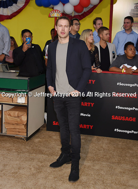 WESTWOOD, CA - AUGUST 09: Actor Chord Overstreet arrives at the Premiere Of Sony's 'Sausage Party' at Regency Village Theatre on August 9, 2016 in Westwood, California.