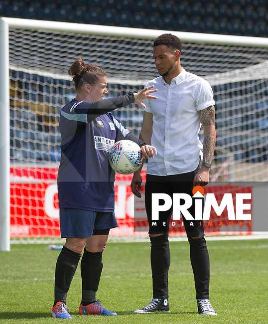 Nathan Tyson & Sam Bailey during the Sellebrity Soccer match for Wycombe Sports & Education Trust at Wycombe Wanderers, Adams Park, High Wycombe, England on 28 May 2018. Photo by Andy Rowland.