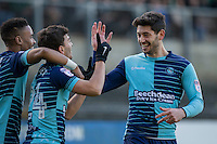 Scott Kashket of Wycombe Wanderers celebrates scoring his side's first goal with Paris Cowan-Hall and Joe Jacobson during the Sky Bet League 2 match between Plymouth Argyle and Wycombe Wanderers at Home Park, Plymouth, England on 26 December 2016. Photo by Mark  Hawkins / PRiME Media Images.