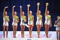 September 12, 2009; Mie, Japan;  Italian rhythmic group wins gold in group All Around at the 2009 World Championships Mie, Japan. (L-R) Romina Laurito, Elisa Blanchi, Daniela Masseroni, Anzhelika Savrayuk, Giulia Galtarossa, Elisa Santoni. Photo by Tom Theobald.