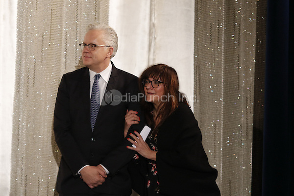 Tim Robbins with Isabel Coixet receiving the &quot;Berlinale Kamera&quot; award at the &quot;Dead Man Walking&quot; screening held at Kino International during 66th Berlinale International Film Festival, Berlin, Germany, 13.02.2016. <br /> Photo by Christopher Tamcke/insight media /MediaPunch ***FOR USA ONLY***