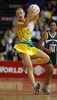 15.11.2007 Australian Lauren Nourse in action during the Australia v Cook Islands match at the New World Netball World Champs held at Trusts Stadium Auckland New Zealand. Mandatory Photo Credit ©Michael Bradley.