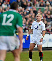 Shane Geraghty looks on. International match between the England Saxons and Ireland A on January 31, 2010 at the Recreation Ground in Bath, England. [Mandatory Credit: Patrick Khachfe/Onside Images]