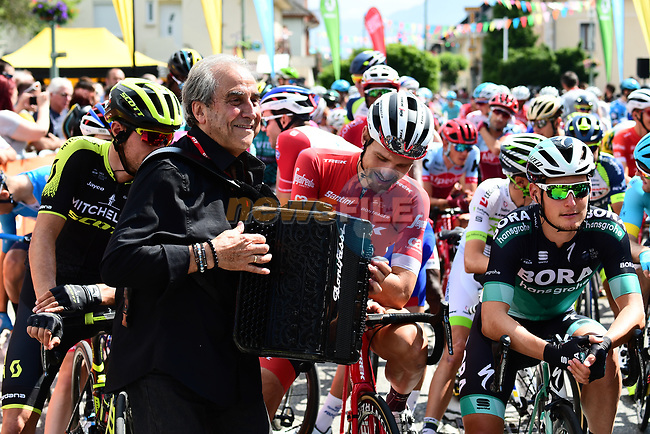 Entertainment at the start of Stage 6 of the 2018 Criterium du Dauphine 2018 running 110km from Frontenex to La Rosiere, France. 9th June 2018.<br /> Picture: ASO/Alex Broadway | Cyclefile<br /> <br /> <br /> All photos usage must carry mandatory copyright credit (© Cyclefile | ASO/Alex Broadway)