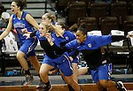 SIOUX FALLS MARCH 22:  Players from the Bentley bench erupt after their victory over Virginia Union during their quarterfinal game at the NCAA Women's Division II Elite 8 Tournament at the Sanford Pentagon in Sioux Falls, S.D.  Bentley won 53-52. (Photo by Dick Carlson/Inertia)