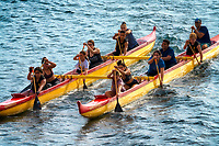 Outrigger boats on ocean in Maui, Hawaii