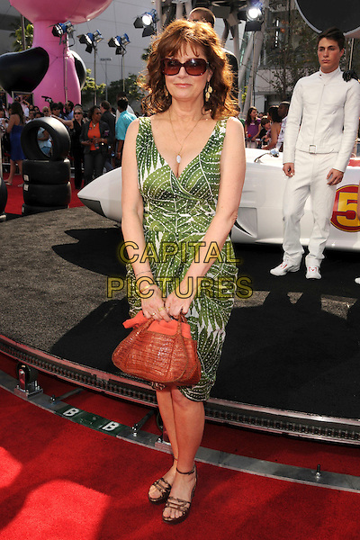 "SUSAN SARANDON .""Speed Racer"" Los Angeles Premiere at the Nokia Theatre, Los Angeles, California, USA, 26 April 2008..full length green and white print dress sunglasses brown bag sandals shoes .CAP/ADM/BP.©Byron Purvis/Admedia/Capital PIctures"