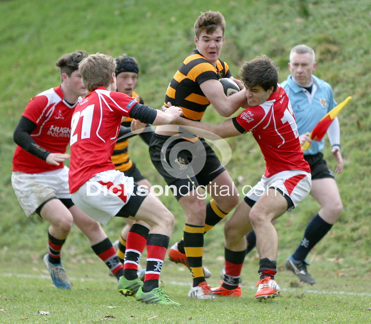 SCHOOLS CUP 2015  | Saturday 7th February 2015<br /> <br /> Joseph Finnegan during the third round of the 2015 Ulster Schools Cup between RBAI and Regent House at Osborne Park, Belfast.<br /> <br /> Picture credit: John Dickson / DICKSONDIGITAL