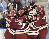 Stephen Gionta, Matt Greene, Mike Brennan and Tim Filangieri mob Joe Rooney - The Boston College Eagles defeated the Boston University Terriers 5-0 on Saturday, March 25, 2006, in the Northeast Regional Final at the DCU Center in Worcester, MA.