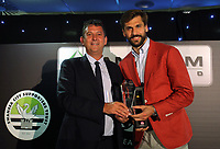 Pictured: Fernando Llorente (R) receive one of his awards Wednesday 18 May 2017<br />Re: Swansea City FC, Player of the Year Awards at the Liberty Stadium, Wales, UK.