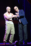 Jonathan Goodwin, The Daredevil from 'The Illusionists' with Richard Ridge during a press preview of 'The Illusionists - Turn of the Century' at The Theater Center on November 29, 2016 in New York City.