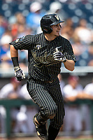 Vanderbilt Commodores outfielder JJ Bleday (51) runs to first base during Game 8 of the NCAA College World Series against the Mississippi State Bulldogs on June 19, 2019 at TD Ameritrade Park in Omaha, Nebraska. Vanderbilt defeated Mississippi State 6-3. (Andrew Woolley/Four Seam Images)