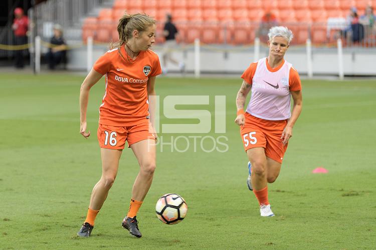 Houston, TX - Saturday July 15, 2017: Janine Beckie warming up during a regular season National Women's Soccer League (NWSL) match between the Houston Dash and the Washington Spirit at BBVA Compass Stadium.