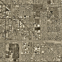 historical aerial photograph of Phoenix, Arizona, 1992