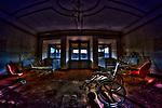 Wheelchair in dark empty room