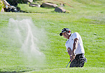 August 5, 2012: Andres Romero from Tucuman, Argentina chips out of a sand trap on the 18th green during the final round of the 2012 Reno-Tahoe Open Golf Tournament at Montreux Golf & Country Club in Reno, Nevada.