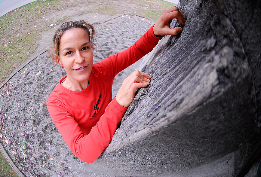 Rock CLimbing at the outdoor artificial climbing wall at the University of Washington, Seattle, WA.