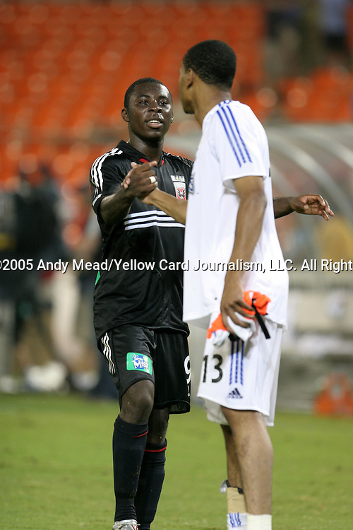 15 July 2005: Freddy Adu (9) and Ricardo Clark (13) shake hands after the game. DC United defeated the San Jose Earthquakes 3-0 at RFK Stadium in Washington, DC in a regular season Major League Soccer game.