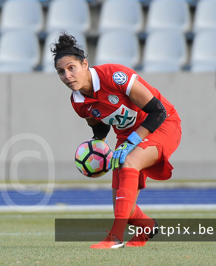 20170129 - LILLE , FRANCE : Juvisy's Karima Benameur pictured during women soccer game between the women teams of Lille OSC and FFC Juvisy Essonne  during the 1/16 final for the 2017 French Cup at stade Lille Metropole , Sunday 29th of January ,  PHOTO Dirk Vuylsteke | Sportpix.Be