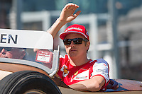March 15, 2015: Kimi Raikkonen (FIN) #7 from the Scuderia Ferrari team waves to fans during the drivers' parade at the 2015 Australian Formula One Grand Prix at Albert Park, Melbourne, Australia. Photo Sydney Low