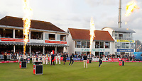 Kent openers enter the field during the T20 Quarter-Final game between Kent Spitfires and Lancashire Lightning at the St Lawrence ground, Canterbury, on Aug 23, 2018.