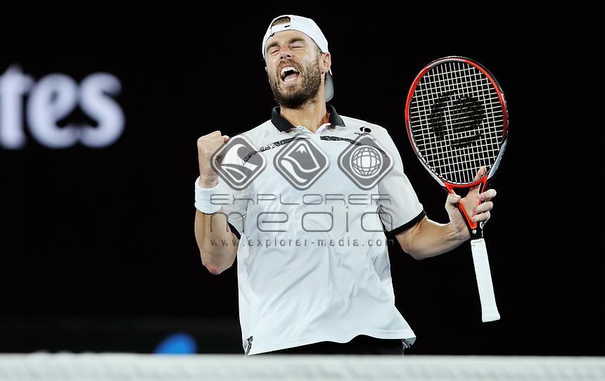 MELBOURNE,AUSTRALIA,27.JAN.18 - TENNIS - ATP World Tour, Grand Slam, Australian Open, doubles. Image shows the rejoicing of Oliver Marach (AUT). Photo: GEPA pictures/ Matthias Hauer / Copyright : explorer-media