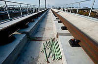 The new Dallas Area Rapid Transit light rail transit stop for the Green Line under construction in Carrollton, Texas, USA, Thursday, Dec., 3, 2009. The City of Dallas hopes plans to open the new line in 2010...MATT NAGER/ BLOOMBERG NEWS