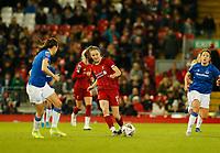 17th November 2019; Anfield, Liverpool, Merseyside, England; Womens Super League Footballl, Liverpool Women versus Everton; Niamh Charles of Liverpool FC Women carries the ball through midfield - Editorial Use