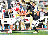 Baltimore, MD - OCT 14, 2017: Richmond Spiders running back Gordon Collins (6) runs away from Towson Tigers defensive back Coby Tippett (35) for a touchdown during game between Towson and Richmond at Johnny Unitas Stadium in Baltimore, MD. The Spiders defeated the Tigers 23-3. (Photo by Phil Peters/Media Images International)