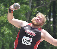 RICK PECK/SPECIAL TO MCDONALD COUNTY PRESS McDonald County's Elliott Wolfe uncorks a throw of 50-1 in the shot put to take fifth place at the Missouri Class 4 State Track and Field Championships held May 25 at Washington High School.